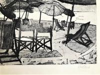 Original etching 'Sun Shades' by Rosamund Steed (Moss Fuller). Signed, inscribed and numbered 3/7. c.1960 (3 of 3)