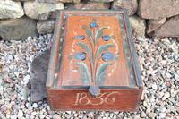Scandinavian / Swedish 'Folk Art' Original Paint Rosmålning, Timplåda / sliding lidded box 1836