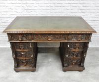 Small Carved Oak Green Man Desk (6 of 10)