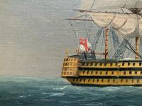Original Seascape Oil Painting of 18th Century HMS Victory Docked White Cliffs Of Dover (7 of 11)