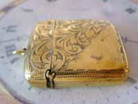 Antique Pocket Watch Chain Vesta Case Fob 1890s Victorian Large Chunky Brass Fob (5 of 9)