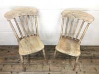 Pair of Antique Slat Back Farmhouse Kitchen Chairs (3 of 9)