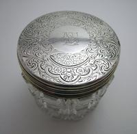 Antique Victorian 1863 Solid Sterling Silver Gilt Lidded Top & Cut Glass Vanity Trinket Dressing Table Box Jar Pot Bottle Container (4 of 8)