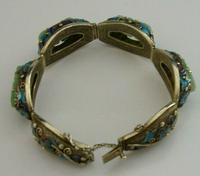 Superb Chinese Solid Silver Gilt Enamel & Jade Bracelet c.1920 Antique (9 of 12)