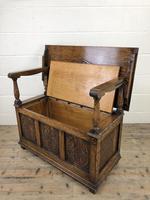 Antique Carved Oak Monks Bench Hall Seat (4 of 10)