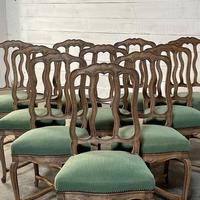 Set of 10 French Bleached Oak Farmhouse Dining Chairs (13 of 16)