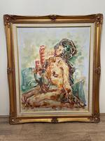 """Impressionism Oil Painting Thailand School """"Posing Nude Lady"""" (2 of 25)"""