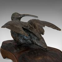 Antique, Curlew, Oriental, Bronze, Mahogany, Decorative, Small Bird c.1900 (6 of 12)