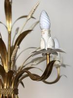 Vintage French 5 Arm Gilt Wheatsheaf Toleware Chandelier (8 of 9)