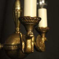 French Gilded Brass Empire 3 Light Chandelier (4 of 10)