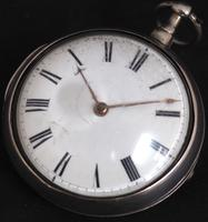 Good Antique Silver Pair Case Pocket Watch Fusee Verge Escapement Key Wind Enamel Dial Robinson London (5 of 11)