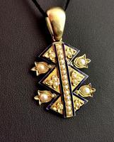 Victorian Blue Enamel & Split Pearl Pendant, 9ct Gold (5 of 12)
