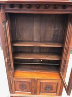 Antique Arts & Crafts Carved Walnut Bookcase (7 of 13)