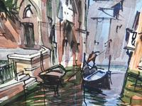 Set of 4 Watercolours Venice by Sirrol listed artist Aka Antonio Sirolli 1950s (8 of 10)