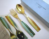 A Michelsen Danish Solid Sterling Silver Enamel, Christmas 1960 Spoon & Fork Pair Set. Solstice