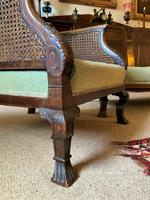 19th Century Antique Mahogany Upholstered 3 Piece Bergere Sofa Suite Armchairs Settee (9 of 15)