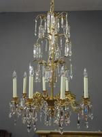 Edwardian Gilded and Glass Chandelier (6 of 13)