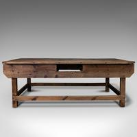 Large Antique Textiles Table, English, Pine, Shop, Retail, Display, Victorian (2 of 12)