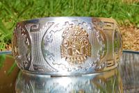 Rare Stunning Art Deco Solid Silver & 18k Gold Shield Mounted Bracelet / Bangle (4 of 8)