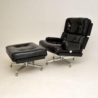 Pair of Vintage Leather / Chrome Armchairs & Ottoman by Howard Keith (4 of 16)