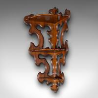 Antique 3 Tier Hanging Whatnot, English, Rosewood, Corner Wall Shelf, Victorian (3 of 12)