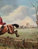'The Fox Hunt' Original Vintage Country Sporting Pursuit Oil on Canvas Painting (3 of 17)