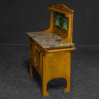 Arts & Crafts Oak Washstand with Marble Top (8 of 14)