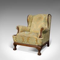 Antique Wing-Back Armchair, English, Fireside, Lounge, Seat, Edwardian, 1910 (9 of 12)