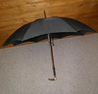 Antique hallmarked 1890 silver brigg black canopy umbrella 'T.S.E.' 'Edinburgh' (6 of 15)