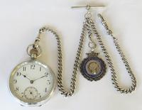 Antique Swiss silver pocket watch and chain (2 of 5)