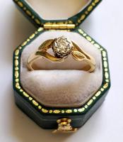 Mid 20th Century 18ct Gold Diamond Engagement Solitaire Ring Size O (7 of 11)