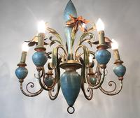 Large Vintage French 6 Arm Polychrome Toleware Ceiling Light Chandelier (16 of 16)