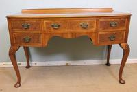 Burr Walnut Bow Front Writing Side Table (7 of 10)