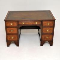 Antique Burr Walnut  Leather Top Desk (5 of 13)