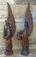 Good Pair of Carved Oak Angels 19th Century (5 of 12)