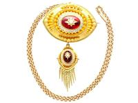 6.20ct Garnet, Pearl & Enamel, 18ct Yellow Gold Pendant / Brooch - Antique c.1880 (3 of 15)
