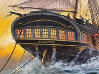 "Seascape Oil Painting Naval Frigate Ships Napoleonic War Sea ""Battle Trafalgar"" (11 of 25)"