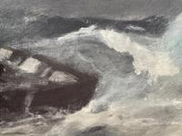 Huge 19th Century Seascape Oil Painting Sinking Ship Signalling Rescuers by Henry E Tozer (57 of 58)