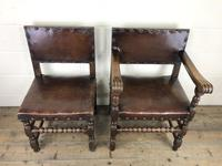 Set of Six Oak and Leather Dining Chairs (20 of 23)
