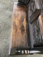 Antique English Carved Oak Hall Bench Settle (7 of 10)