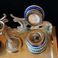Antique Brass and Porcelain Double Inkwell with Candlestick (5 of 10)