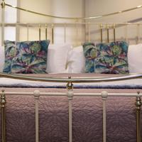 Wide Cast Iron & Brass Antique Bed in Cream (4 of 7)