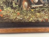 """Oil Painting """"Unloved Abandoned VW Beetle Car"""" Signed David Robert (24 of 27)"""