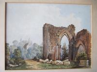 19th Century Watercolour of Newminster Abbey, Northumberland.