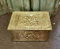 Embossed Brass Log or Coal Box, or Slipper Box with Tavern Scenes (3 of 6)