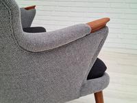 "Danish Sofa, Kurt Olsen Model 220 ""Banana"", Completely Renovated, 60s, Teak, Furniture Wool (6 of 15)"