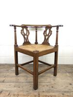 Antique 19th Century Oak Corner Chair with Rush Seat (4 of 10)