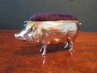 Large Antique Solid Silver Pig Pin Cushion (6 of 8)