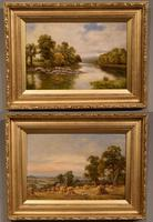 """Oil Painting Pair by Sidney Yates Johnson """"on the River Conway, North Wales"""" & """"Harvesting"""""""