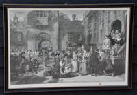 Large 19th Century Engraving. Busy Interior Courtyard Scene (4 of 7)